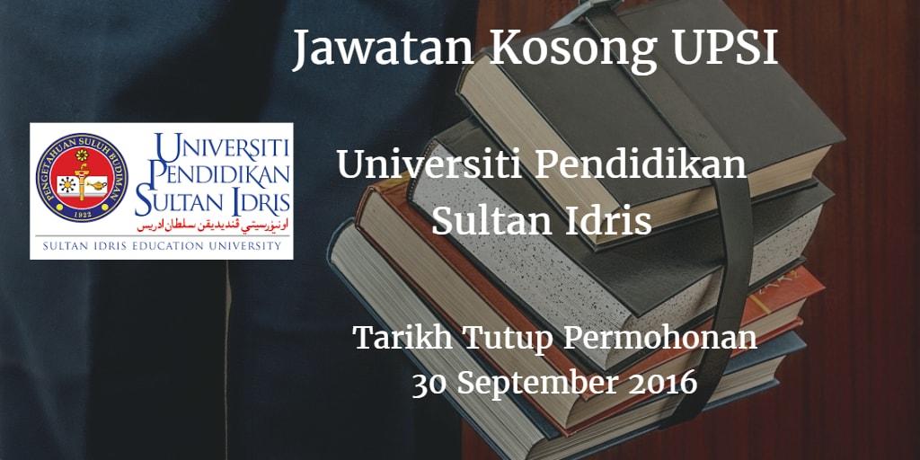 Jawatan Kosong UPSI 30 September 2016