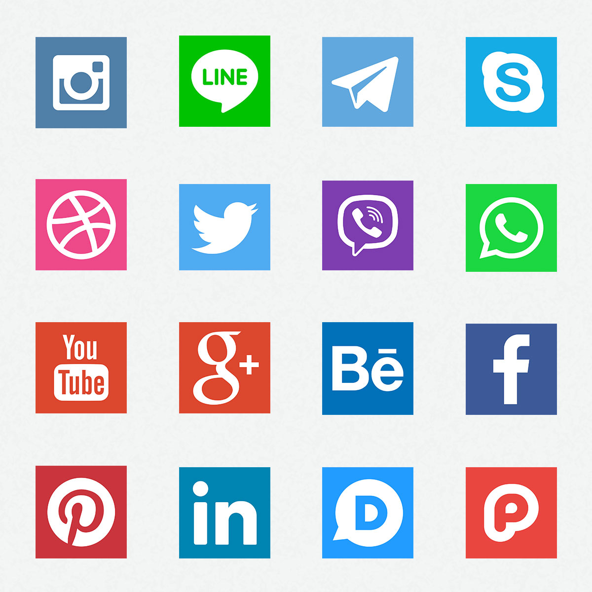 Square Social Media Icons PSD
