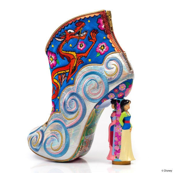 embroidered Disney Mushu detail along inner side of ankle boot with Mulan heel