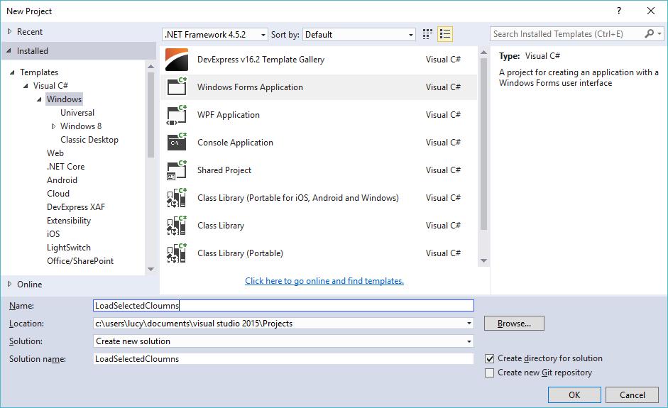 c# load selected columns datagridview