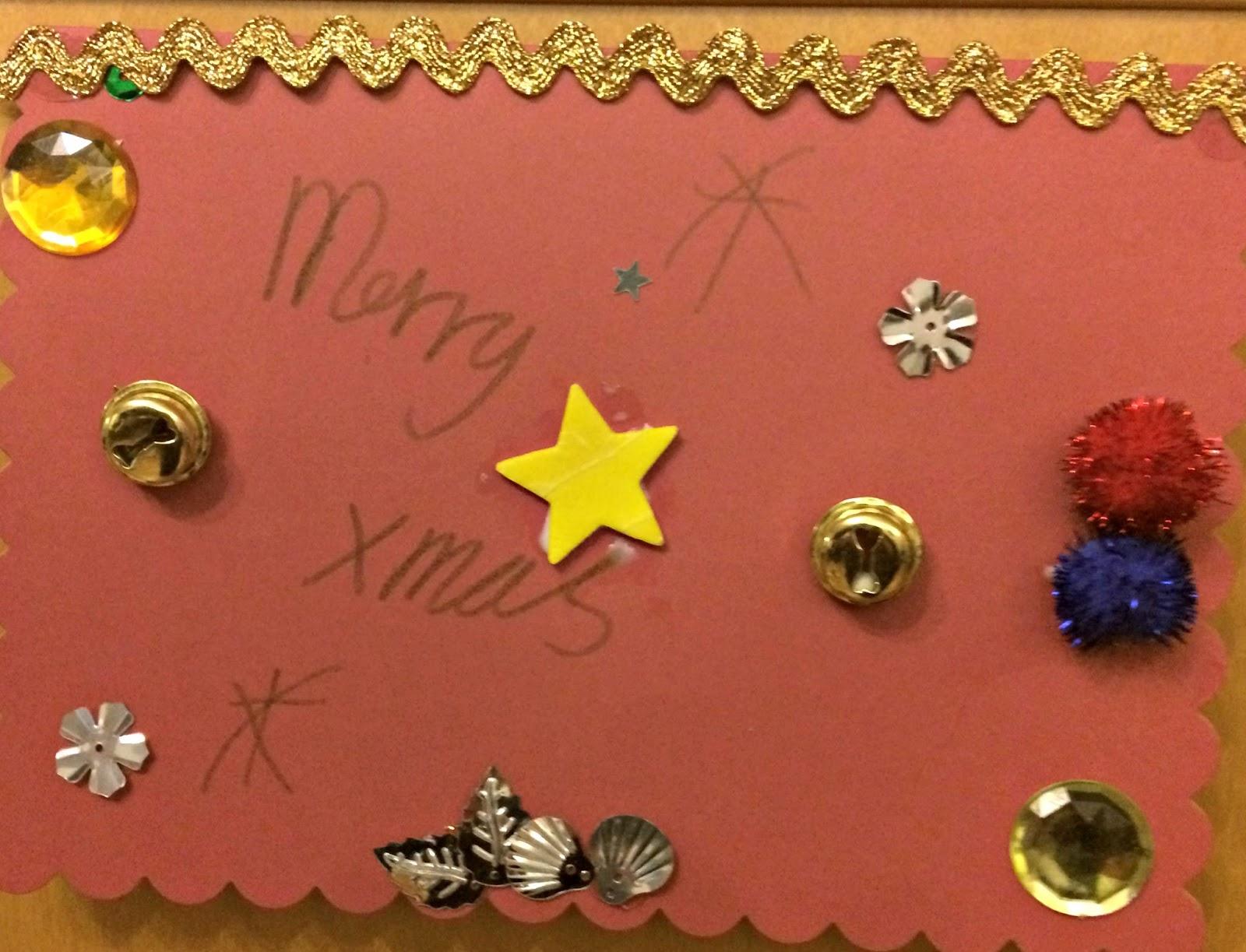 Caitlin's homemade Christmas card