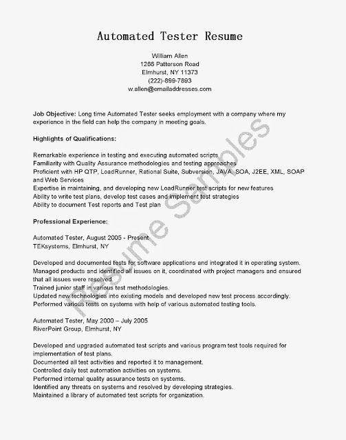 Great Sample Resume Samples Automated Tester