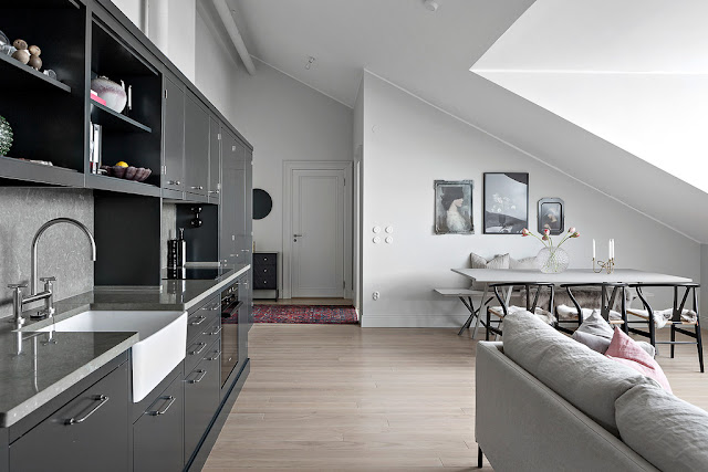 Scandinavian attic apartment with amazing magic