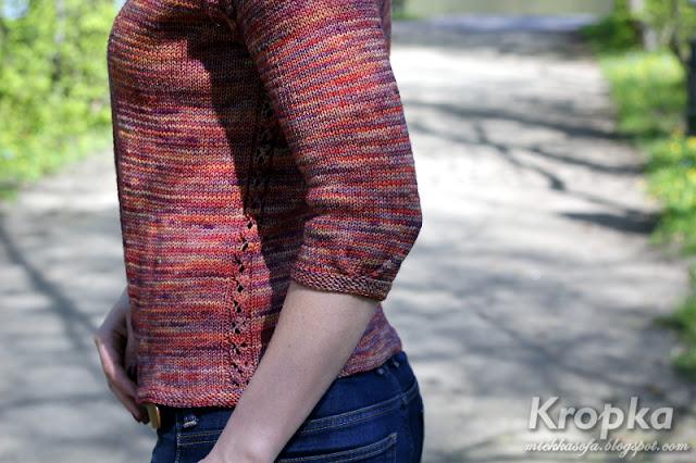 Krótki kardigan, ręcznie robiony na drutach