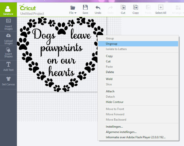 Import SVG in Cricut Design Space - ungroup