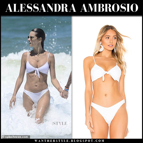 Alessandra Ambrosio in white bikini swimming beach brazil model style