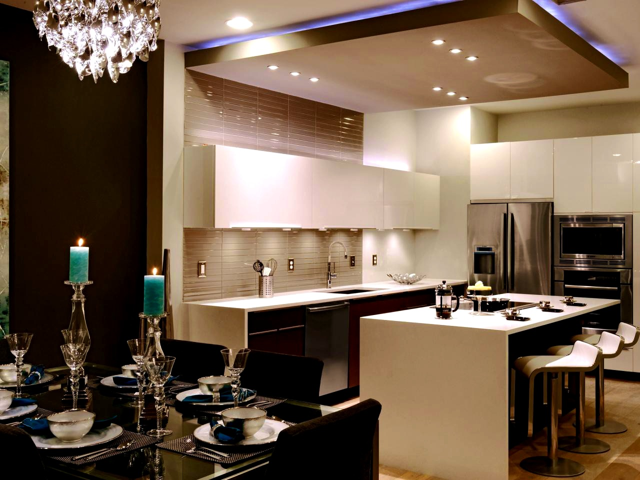 7 Gorgeous Kitchens Designs With Gypsum False Ceiling & lights