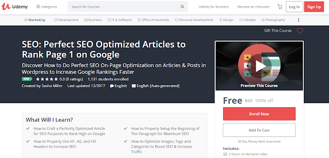 SEO: Perfect SEO Optimized Articles to Rank Page 1 on Google-Udemy Free (100%)