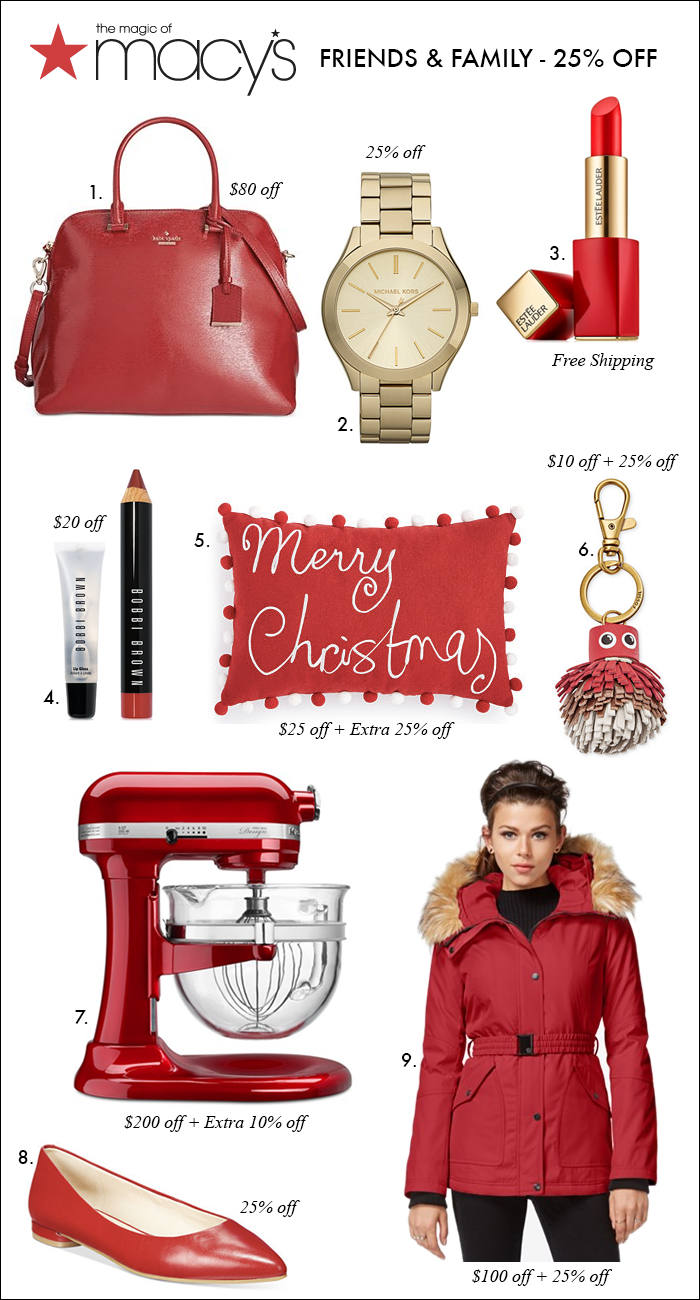 red flats, christmas gift ideas under $25, kate spade bags on sale, puffer jacket with fur
