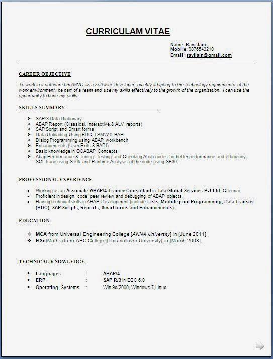 sap abap resume samples