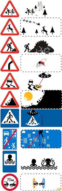 Meme de humor sobre la inspiración para ideas fantásticas en las señales de tráfico