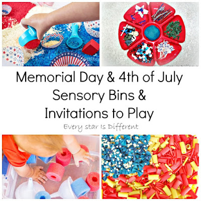 Memorial Day sensory bins and invitations to play