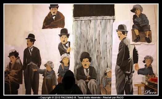Street art latotalité des dessins de Charlie Chaplin par Paco