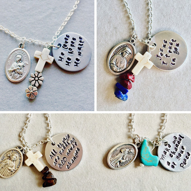 Saints & Sayings Necklaces by Ave Maria Faith Crafts