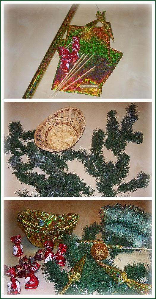 процесс изготовления Новогоднего букета из конфет