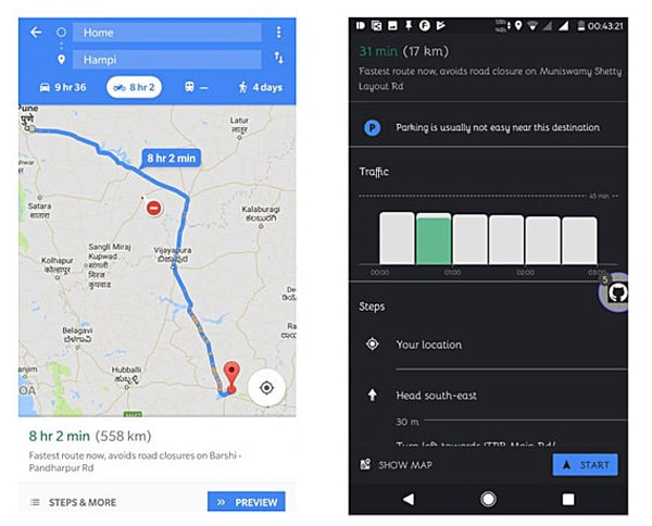 Motorcycle Mode pada Google Maps
