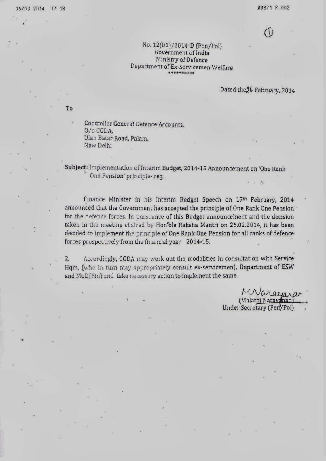 EX-SERVICEMEN WELFARE: OROP ; DEFENCE MINISTER LETTER TO