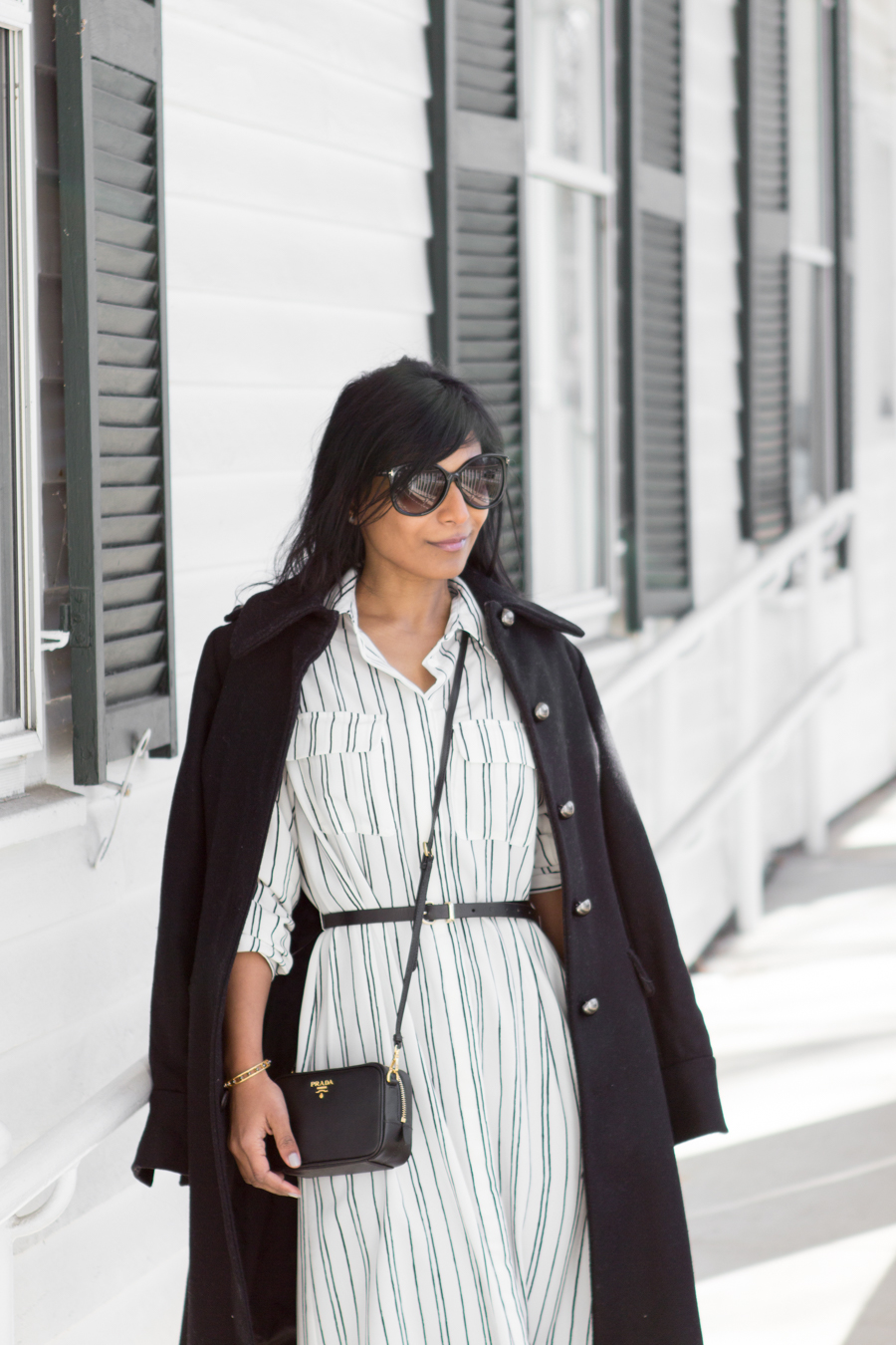 spring style, street style, pinstripe shirtdress, office style, dress for work, oversized sunglasses