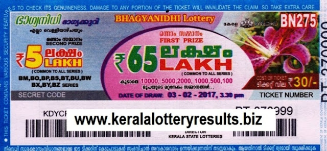 Kerala lottery result live of Bhagyanidhi (BN-279) on 03 March 2017