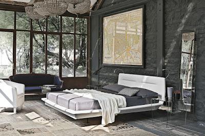 ห้องนอนตกแต่งด้วยอิฐสีดำ