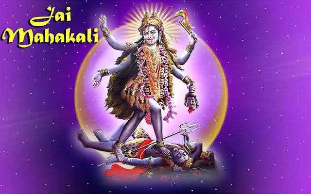 Jai Mahakali Wallpaper In Blue Background