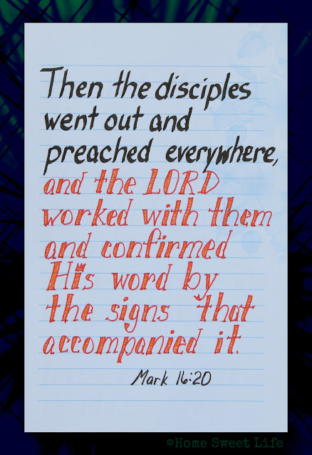 Scripture Writing, Mark 16:20, hand lettering