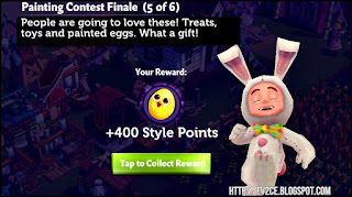 fv2ce, dancing easter bunny, white quest text, purple background