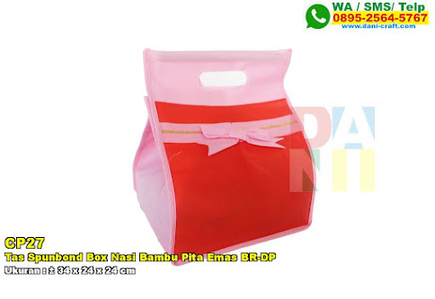 Tas Spunbond Box Nasi Bambu Pita Emas BR-DP