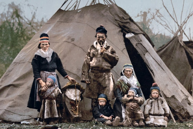 A portrait of a family in the Sami nomadic culture around 1900.