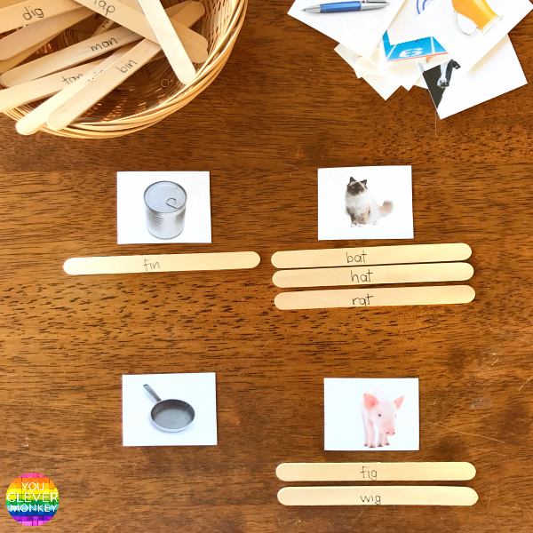 Word Family Craft Stick Rhyming Word Sort Literacy Center | you clever monkey