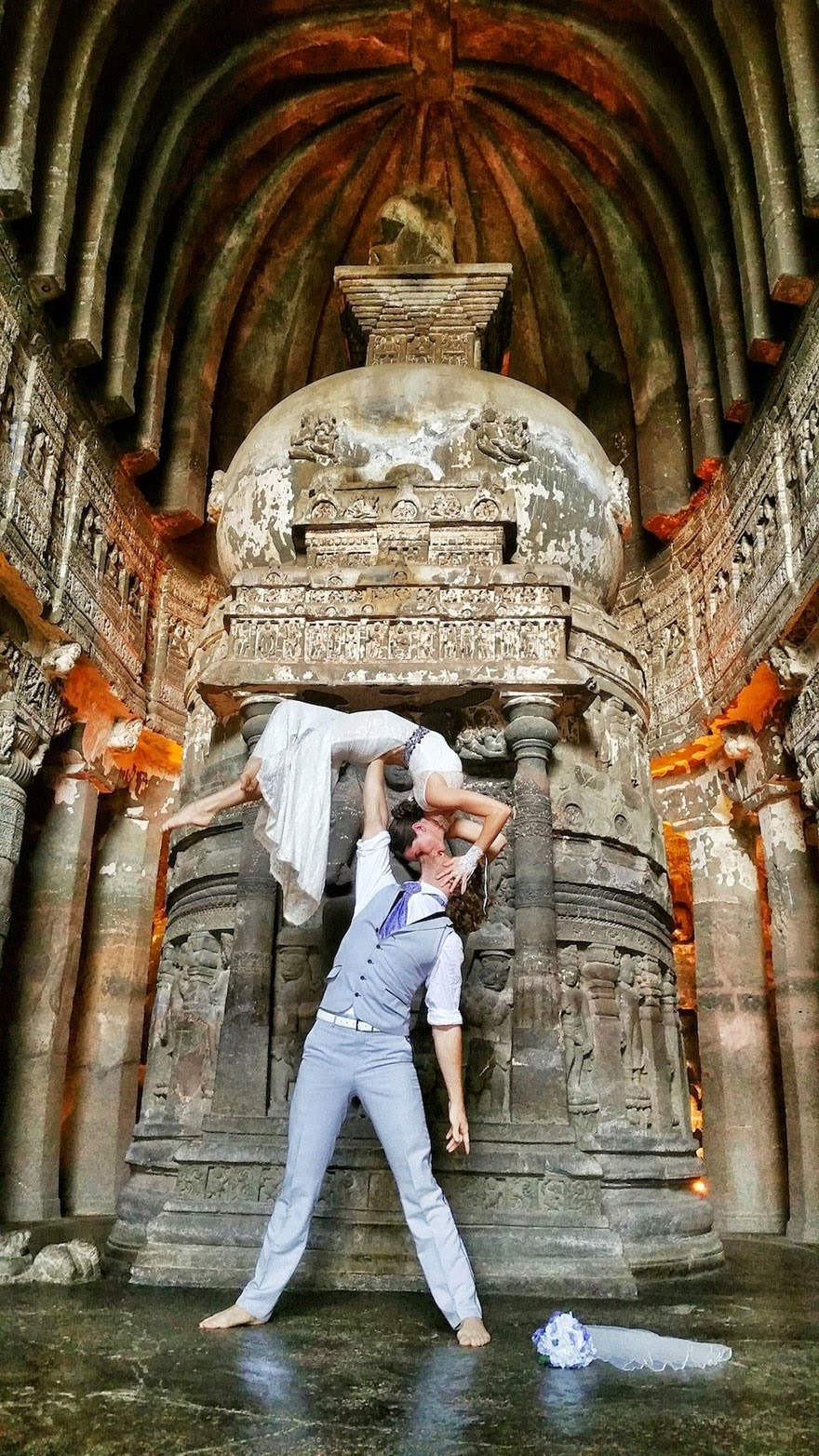 Ajanta Caves, India - Acrobat Couple Gets Married In 38 Different Places Around The World In 83 Days