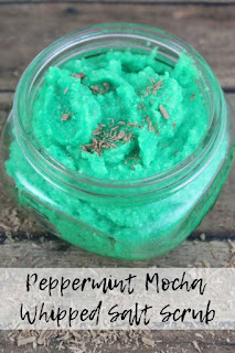 Learn how to make a mocha peppermint salt scrub.  This diy Epsom salt scrub exfoliates while it moisturizes.  This recipe is an emulsified Epsom salt scrub, so it turns into a lotion when you rinse it off.  Learn how to make salt scrub with this peppermint mocha homemade body scrub recipe.  Mocha peppermint body scrub smells amazing!  Combat dry skin with this salt scrub diy Epsom. #bodyscrub #saltscrub #diyscrub #diysaltscrub #peppermintscrub #peppermintbodyscrub