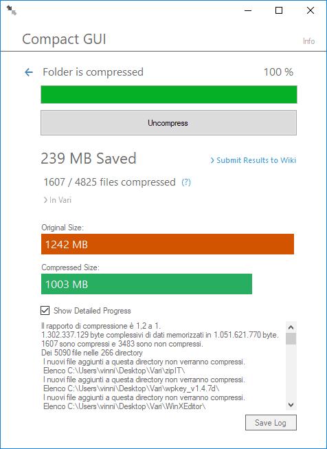 Compact GUI riepilogo compressione