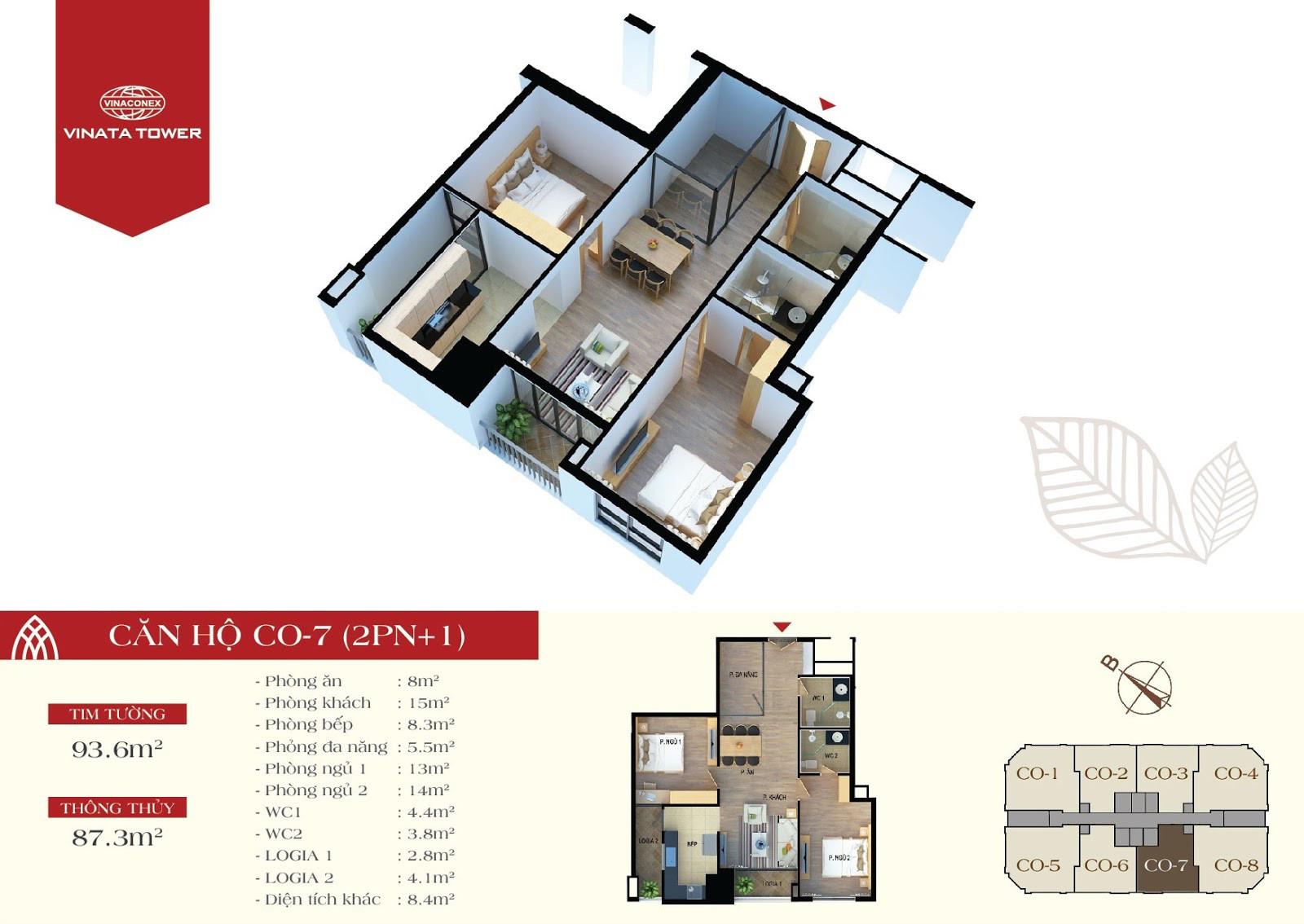Thiết kế chi tiết căn hộ CO-07 DT 87,3m2 - 2PN, 1 đa năng, 2VS