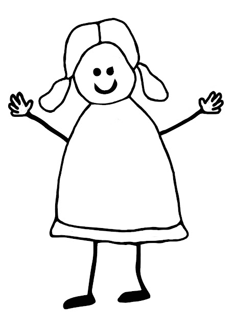 Stick girl colouring page for kids.