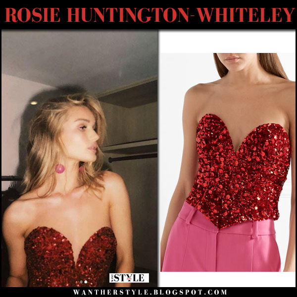 Rosie Huntington-Whiteley in red bustier sequined top oscar de la renta model style march 10