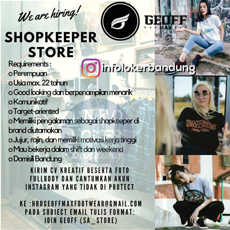 Lowongan Kerja Shopkeepr Stroe Geoff Max Footwear Bandung November 2017