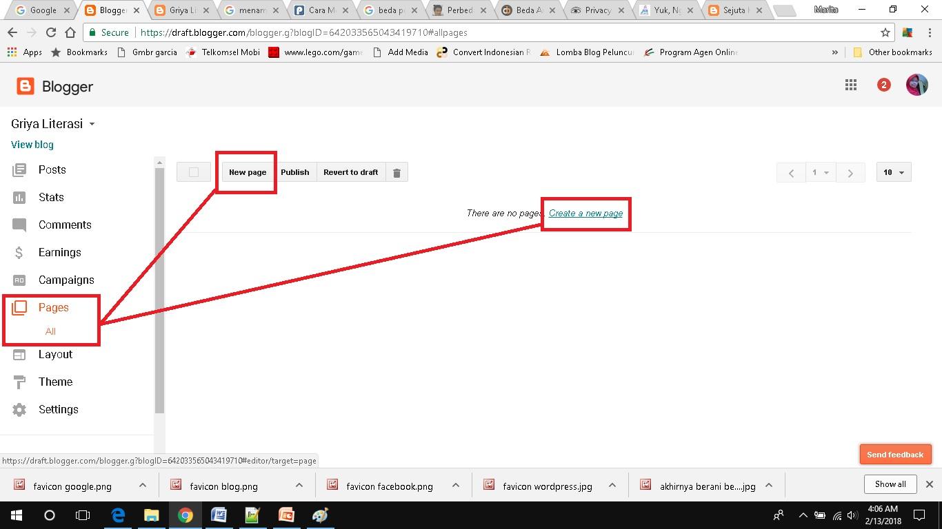 cara membuat dan menampilkan page di blogspot add new page