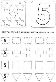 Numeral 5 escrever e colorir