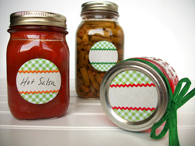gingham canning labels