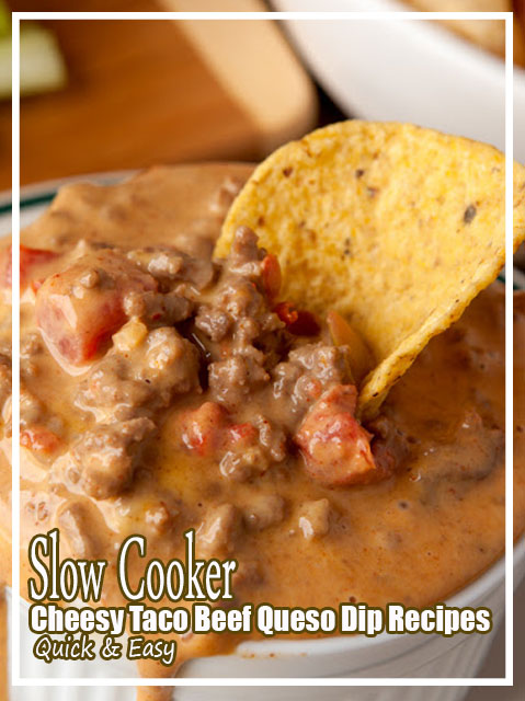 Slow Cooker Cheesy Taco Beef Queso Dip Recipes