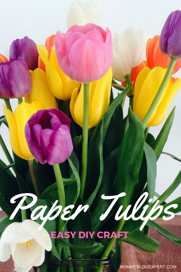 Mommy blog expert mothers day gift easy craft paper tulip tutorial how to make paper tulips mightylinksfo