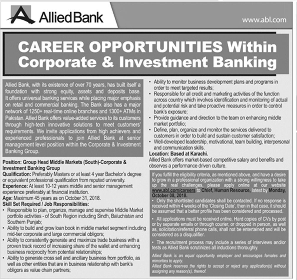 Latest Vacancies Announced in Allied Bank Limited ABL 1 October 2018 - Naya Pak Jobs