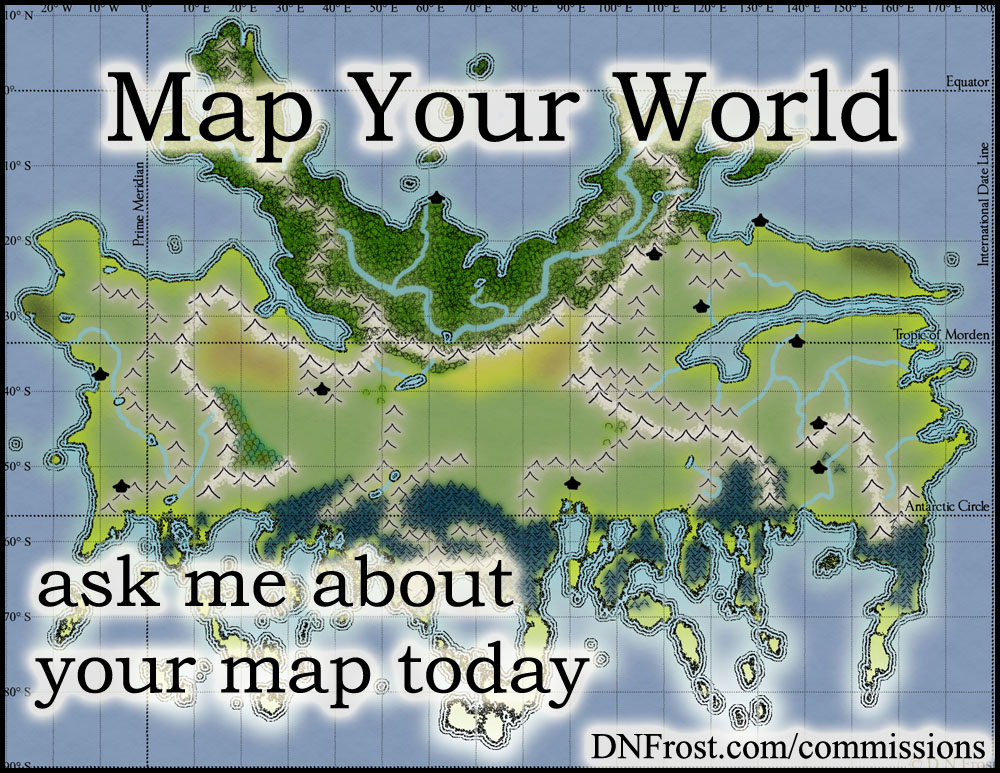Map Your World: ask me about your map today http://DNFrost.com/commissions Map commissions by D.N.Frost @DNFrost13 Image text over T'Chak of Sheridan's World, a map commission for Stephen Everett.