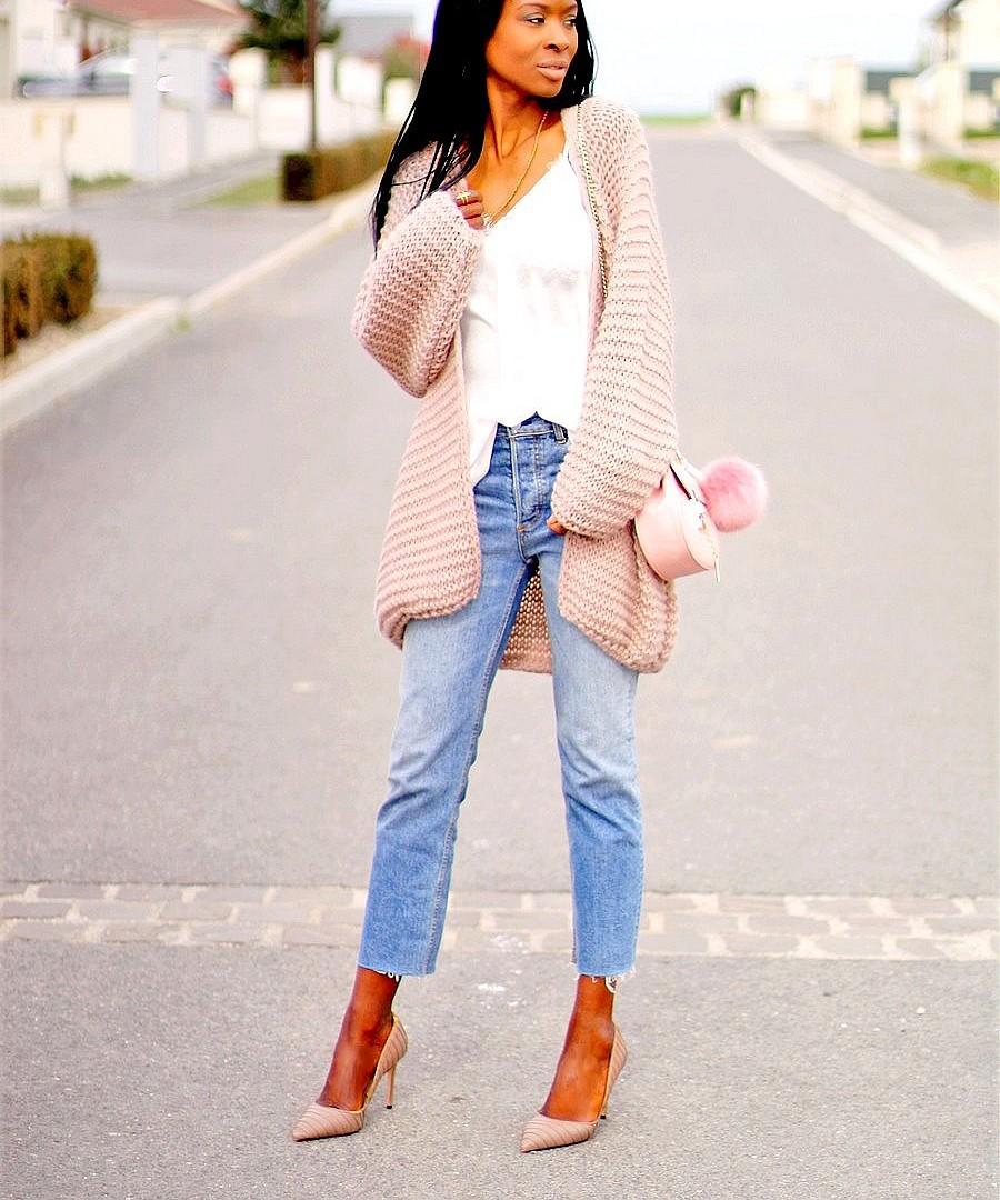 caraco-dentelle-gilet-oversize-jeans-droit-escarpins-nude-sac-drew-chloe-pas-cher