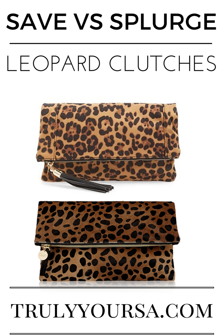 A save vs splurge post comparing leopard foldover clutches from Clare V and Sole Society.
