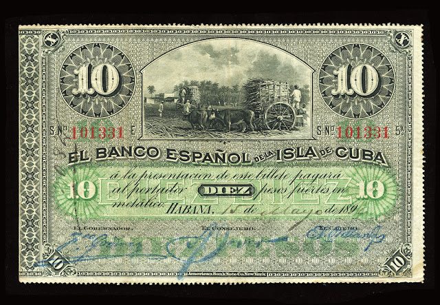 Cuba old money currency 10 Cuban Pesos Banknote paper money