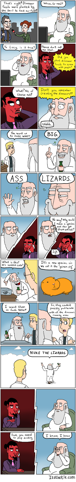 Amusing comic about God creating dinosaurs