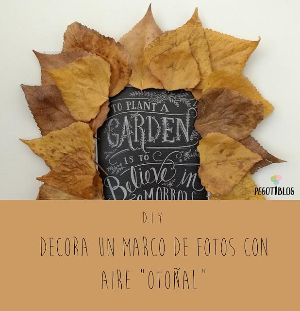 Decorar con hojas secas un marco de fotos - manualidades para otoño