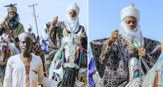 Korede Bello Goes Horse Riding With The Emir Of Kano's Son, Adam Ashraf During Hawan Fanisau